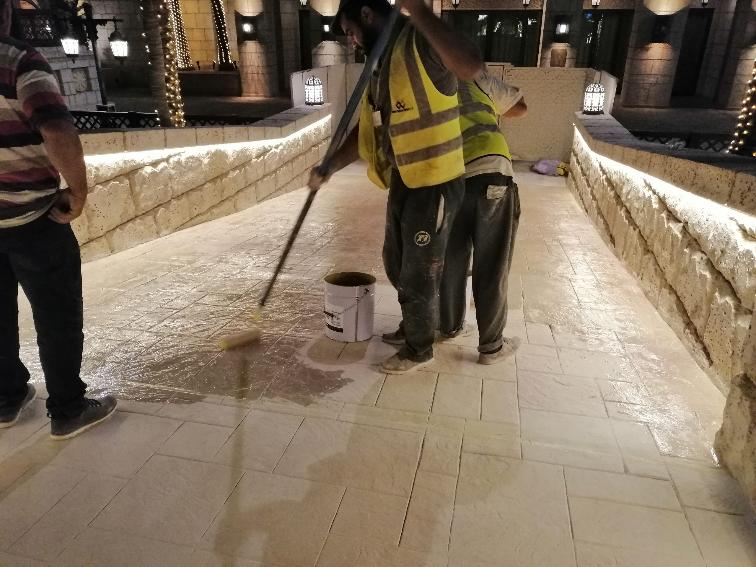Sand Stone Texture Stamped Concrete on Fort Island Bridge Madinat Jumeirah